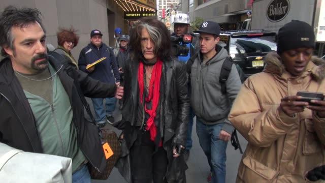 joe perry of aerosmith walking into vh1 in new york, ny, on 11/02/12 - エアロスミス点の映像素材/bロール
