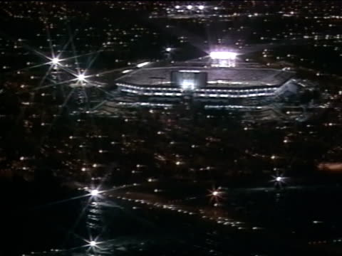 AERIAL NIGHT XWS Joe Robbie Stadium sports complex surrounding area main lighting lights w/ star pattern