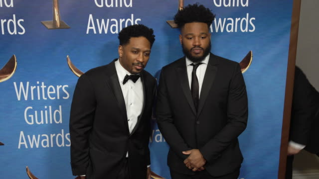 joe robert cole and ryan coogler at the 2019 writers guild awards at the beverly hilton hotel on february 17 2019 in beverly hills california - ryan coogler stock videos and b-roll footage