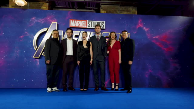 Joe Russo Paul Rudd Scarlett Johansson Chris Hemsworth Trinh Tran and Anthony Russo during the 'Avengers Endgame' UK Fan Event at Picturehouse...