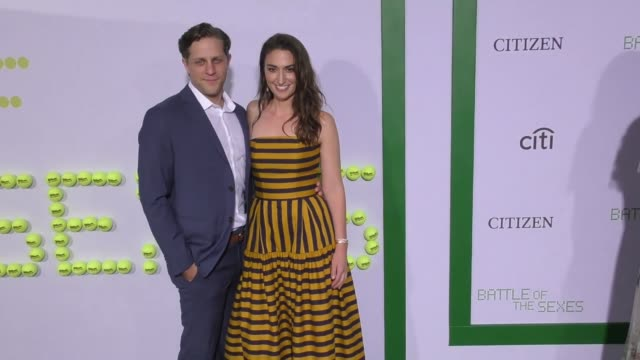 """joe tippett and sara bareilles at the """"battle of the sexes"""" los angeles premiere presented by fox searchlight at regency village theatre on september... - westwood video stock e b–roll"""