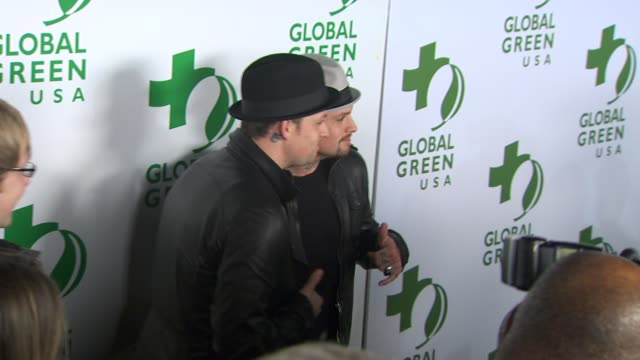 joel & benji madden at the global green usa's 7th annual pre-oscar party at hollywood ca. - oscar party stock videos & royalty-free footage