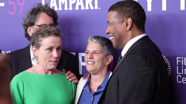 joel coen, frances mcdormand, guest and denzel washington attend the opening night screening of the tragedy of macbeth during the 59th new york film... - film festival stock videos & royalty-free footage