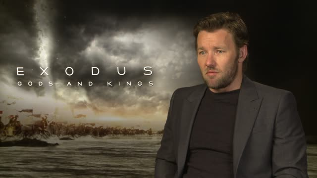 interview joel edgerton on if hollywood has turned to biblical stories for heros at 'exodus gods and kings' interviews at claridge's hotel on... - biblical event stock videos & royalty-free footage