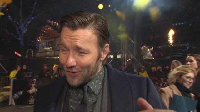 interview joel edgerton on the controversy around the film sir ridley scott's version of god at 'exodus gods and kings' premiere at odeon leicester... - odeon leicester square stock videos and b-roll footage