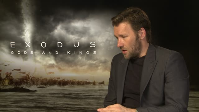 joel edgerton on the relationship between ramses and moses, what it meant to him at 'exodus: gods and kings' interviews at claridge's hotel on... - claridge's stock videos & royalty-free footage