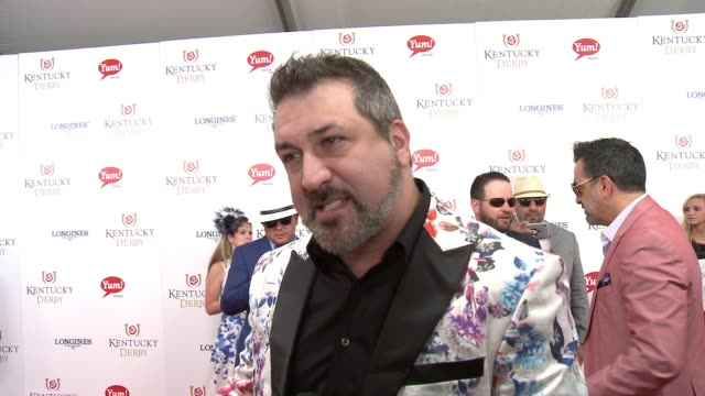 interview joey fatone at 142nd kentucky derby at churchill downs on may 07 2016 in louisville kentucky - joey fatone stock videos & royalty-free footage