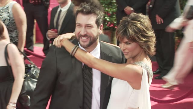 joey fatone lisa rinna at the 60th primetime emmy awards at los angeles ca - lisa rinna stock videos and b-roll footage