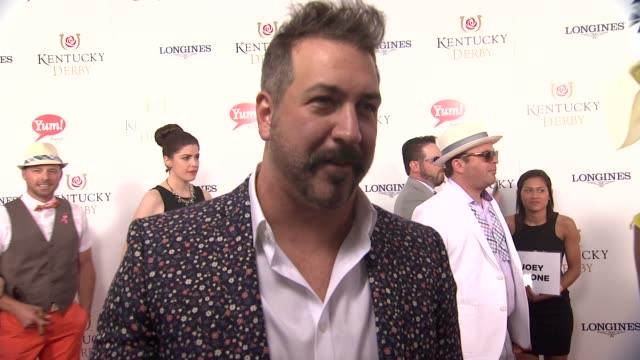 interview joey fatone on enjoying the derby with his friends and getting together every year for the event at 141st kentucky derby at churchill downs... - joey fatone stock videos & royalty-free footage