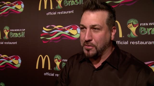 interview joey fatone on the design competition on the occasion of the world cup on his mcdonald's memories at the 2014 fifa world cup mcdonald's... - joey fatone stock videos & royalty-free footage