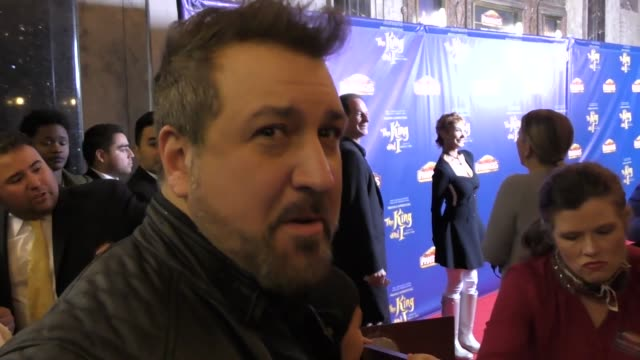 vídeos de stock e filmes b-roll de interview joey fatone talks about his favorite christmas song outside the king and i play at the pantages theatre in hollywood in celebrity sightings... - joey fatone