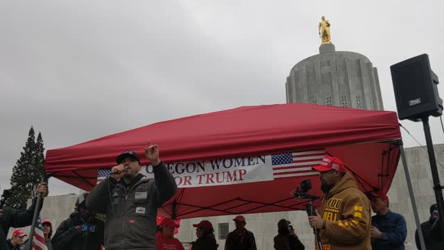 joey gibson, founder of the far-right patriot prayer, speaks against covid-19 restrictions on january 1, 2021 in salem, oregon. police declared the... - salem oregon stock videos & royalty-free footage