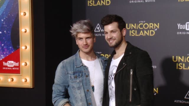 """joey graceffa and daniel preda at """"a trip to unicorn island"""" world premiere at tcl chinese theatre on february 10, 2016 in hollywood, california. - joey graceffa stock videos & royalty-free footage"""
