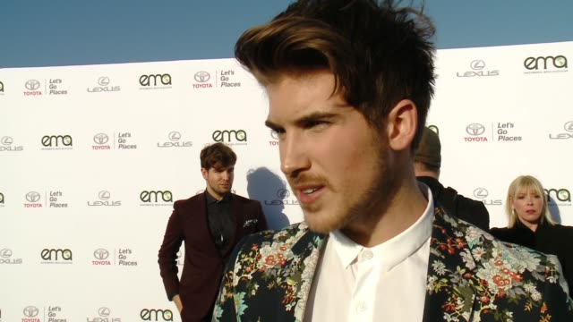 interview joey graceffa on why now more than ever it's important to support environment causes at the 27th annual environmental media association... - environmental media awards stock videos & royalty-free footage
