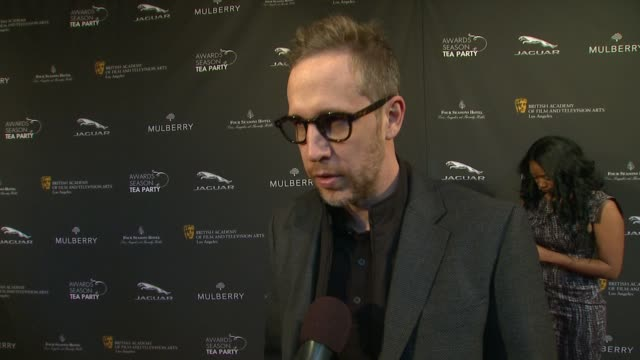 interview joey mcfarland on being a part of the afternoon at bafta la 2014 awards season tea party at four seasons hotel los angeles at beverly hills... - season 11 stock videos and b-roll footage