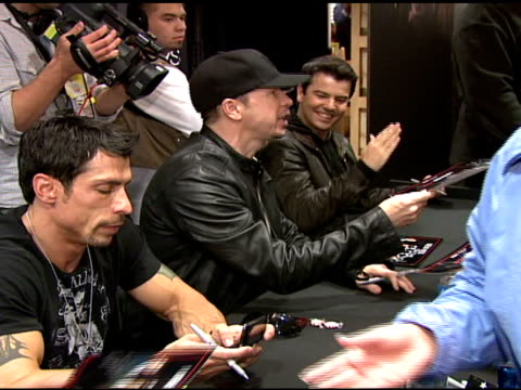 Joey McIntyre Danny Wood Donnie Wahlberg Jonathan Knight and Jordan Knight at the IZOD Macy's Presents New Kids On The Block at Macy's in New York...