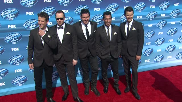 Joey McIntyre Donnie Wahlberg Jonathan Knight Danny Wood and Jordan Knight of New Kids on the Block at the American Idol XIV Grand Finale Arrivals at...