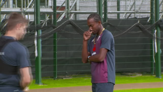 jofra archer bowling in the nets before the fourth ashes test at old trafford - ashes test stock videos & royalty-free footage