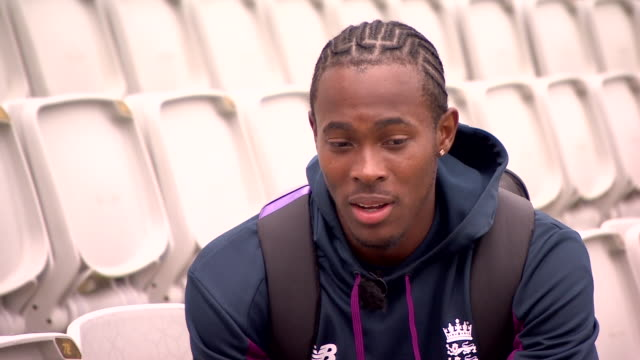 "jofra archer saying he is ""not trying to scare"" australian batsman steve smith and ""i'm just trying to get him out"" - sporting term stock videos & royalty-free footage"