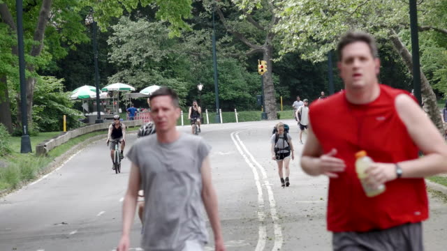joggers and bicyclist in central park, manhattan, new york city - urban road stock videos & royalty-free footage