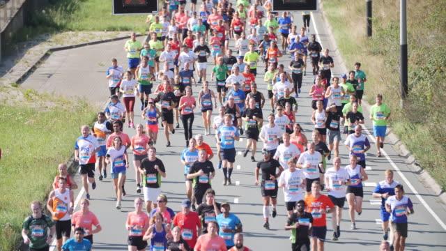 vídeos de stock e filmes b-roll de jogging in holland - maratona