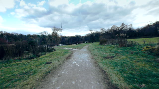 Jogging in park - first person view