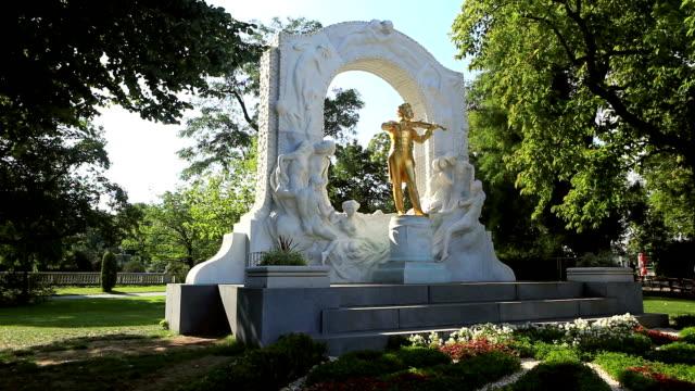 johann strauss statue, vienna - composer stock videos & royalty-free footage