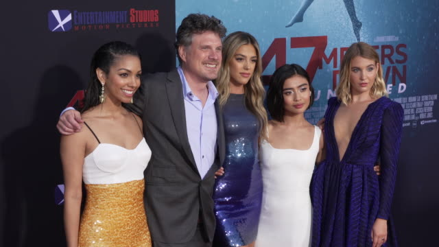 vídeos de stock, filmes e b-roll de johannes roberts missi pyle corinne foxx sistine rose stallone and brianne tju at the los angeles premiere of 47 meters down uncaged on august 13... - missi pyle