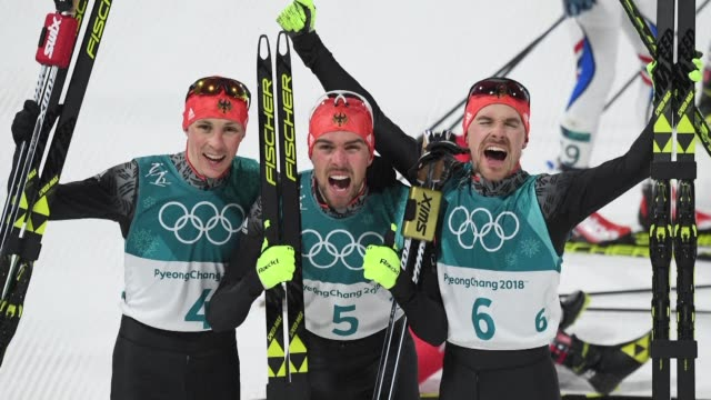Johannes Rydzek triumphs in the Nordic combined Individual Gundersen large hill/10km as Germany snaps up all three medals with Fabian Riessle in...