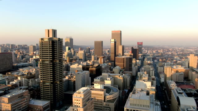 johannesburg city center skyline / downtown aerial view - skyline stock videos & royalty-free footage