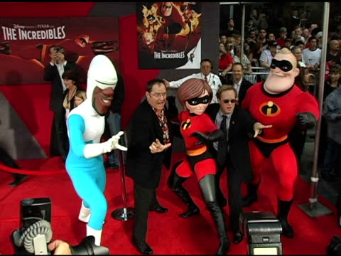 john a lasseter brad bird and the incredibles at the 'the incredibles' premiere at the el capitan theatre in hollywood california on october 25 2004 - el capitan theatre stock videos & royalty-free footage