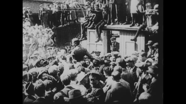 vs john alcock and arthur whitten brown are carried on the shoulders of an enthusiastic irish crowd after they land in ireland after making first... - 1910 1919 stock videos & royalty-free footage
