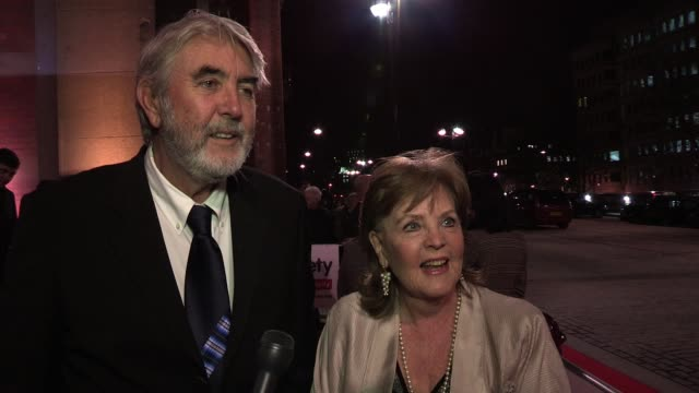 interview john alderton pauline collins talk about the evening and john's photo before pauline talks about her new movie before dismissing any chance... - john alderton stock videos & royalty-free footage