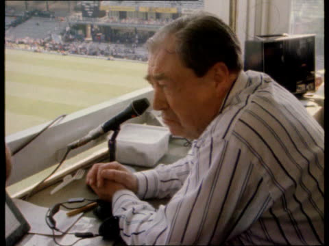 john arlott death int john arlott intvw does not want to wait until people ask 'why not' instead of 'why' he is going - commentary box stock videos & royalty-free footage