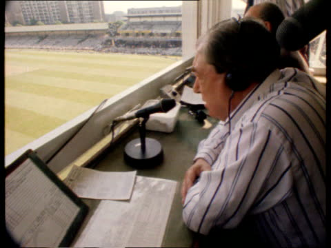 john arlott death itn lib lords arlott in commentary box commentating on cricket match - commentary box stock videos and b-roll footage