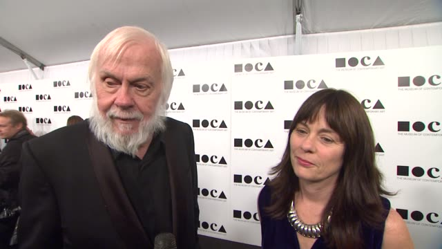 john baldessari on why he wanted to attend this years gala when he became a fan of marina abramovic and his wife looking forward to seeing debbie... - los angeles museum of contemporary art stock videos and b-roll footage