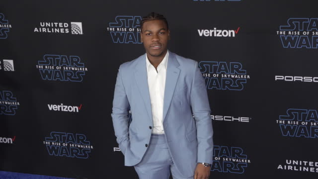 """john boyega at the premiere of disney's """"star wars: the rise of skywalker"""" on december 16, 2019 in hollywood, california. - star wars stock videos & royalty-free footage"""