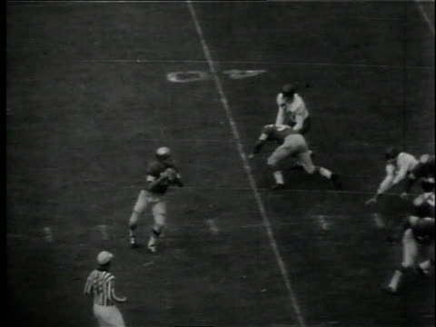 john brody hurling long spiral, billy wilson catching it and making touchdown but injuring his shoulder / united states - スウィッシュパン点の映像素材/bロール