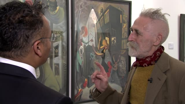 john byrne exhibition at the fine art society john byrne artworks on display john byrne interview sot close shots artworks signature on self portrait... - fine art portrait stock videos & royalty-free footage
