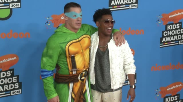 john cena and brandon mychal smith at the nickelodeon's 2018 kids' choice awards at the forum on march 24 2018 in inglewood california - nickelodeon kid's choice awards stock videos & royalty-free footage
