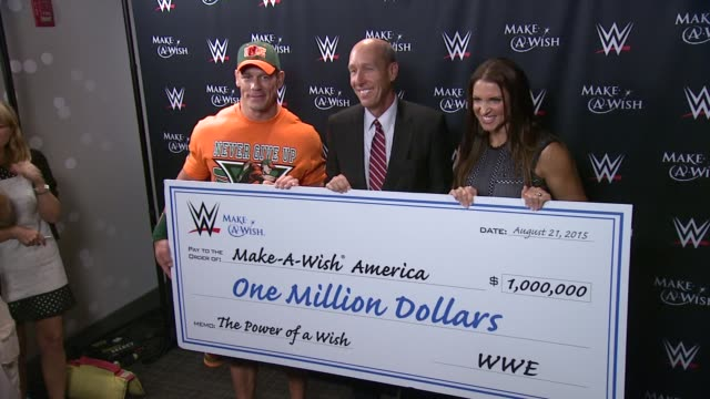clean john cena and makeawish celebrate his 500th wish granting milestone at dave buster's time square on august 21 2015 in new york city - cena stock videos & royalty-free footage