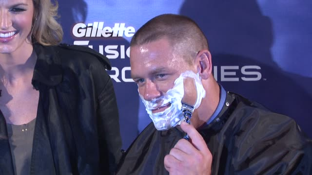 john cena at the the gillette fusion proglide 'ultimate summer job' contest at new york ny - cena stock videos & royalty-free footage