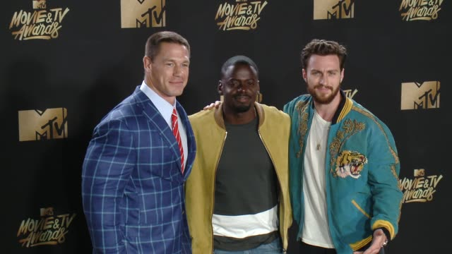 john cena daniel kaluuya aaron taylorjohnson at 2017 mtv movie and tv awards press room in los angeles ca - mtv movie & tv awards stock videos & royalty-free footage