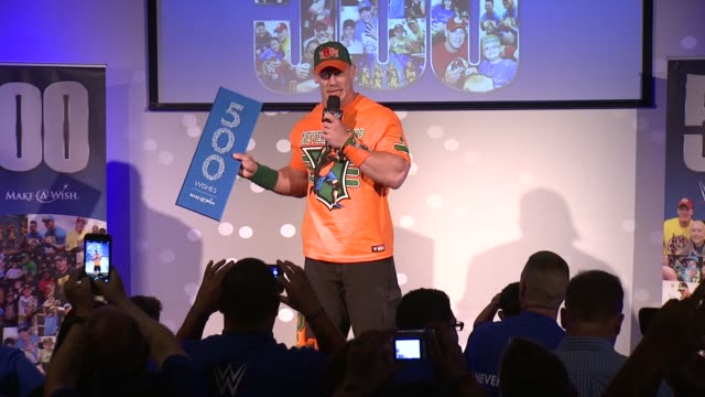 SPEECH John Cena discusses his ongoing involvement with the MakeAWish foundation at Dave Buster's Time Square on August 21 2015 in New York City