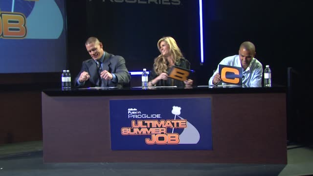 john cena erin andrews tony parker at the the gillette fusion proglide 'ultimate summer job' contest at new york ny - cena stock videos & royalty-free footage