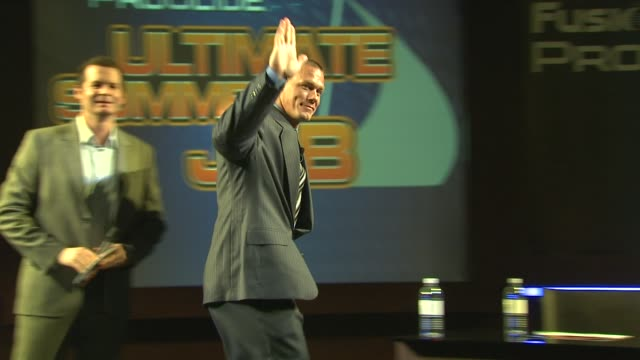 john cena introduced by host at the the gillette fusion proglide 'ultimate summer job' contest at new york ny - cena stock videos & royalty-free footage