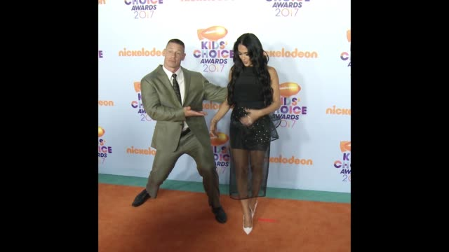 john cena & nikki bella at nickelodeon's 2017 kids' choice awards - nickelodeon stock videos & royalty-free footage