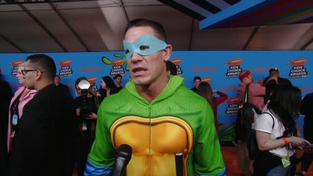 interview john cena on the excitement surrounding the kids' choice awards at the nickelodeon's 2018 kids' choice awards at the forum on march 24 2018... - 31st annual nickelodeon kids' choice awards stock videos and b-roll footage