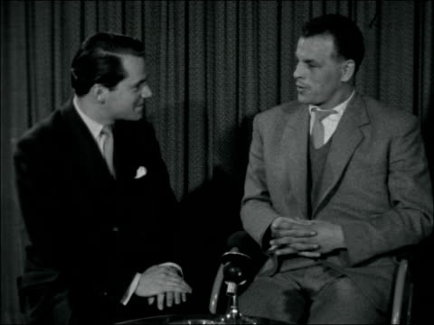 john charles talks about his move from leeds united to juventus england london int john charles interview sot moving not just for the money but also... - 1957 stock-videos und b-roll-filmmaterial