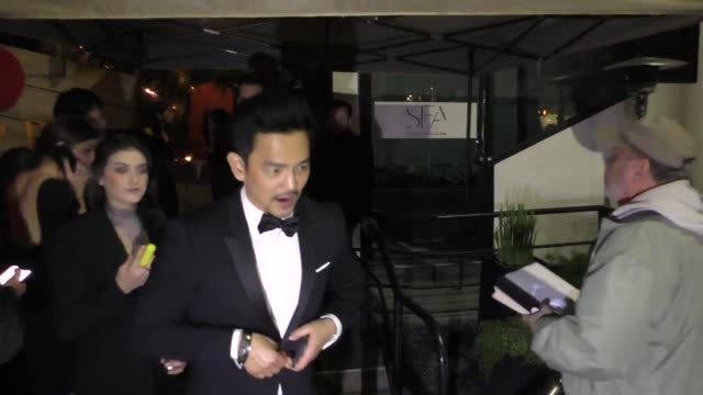 john cho outside seth meyers' golden globe awards after party at poppy nightclub in west hollywood in celebrity sightings in los angeles - seth meyers stock videos and b-roll footage